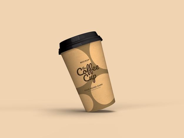 テイクアウトコーヒーカップモックアップのクローズアップ