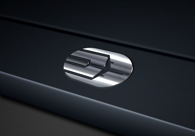 Tech silver logo mockup에 닫기
