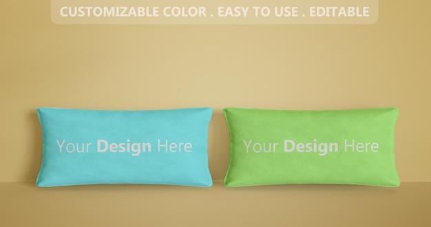 2つの長方形の枕のモックアップ3dをクローズアップ