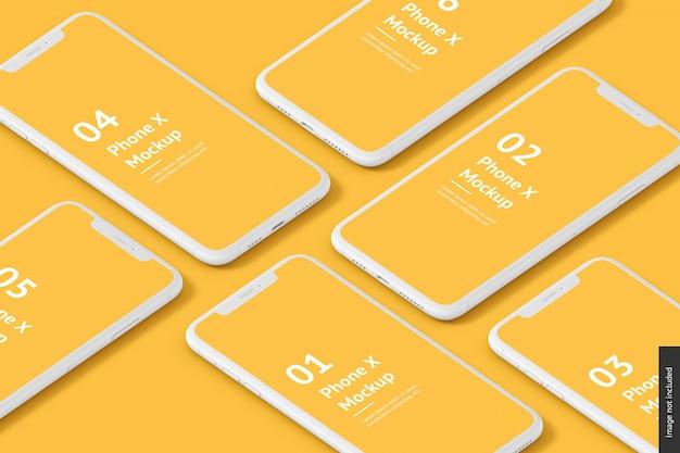 Крупным планом на макете различных телефонов