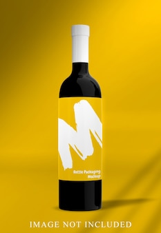 分離されたワインボトルモクップにクローズアップ