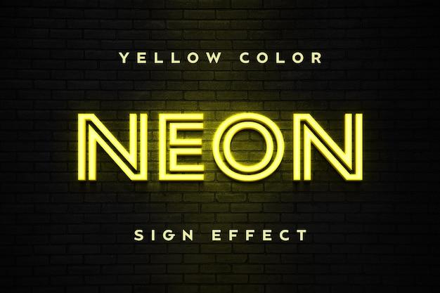 노란색 네온 사인 텍스트 효과 템플릿에 닫습니다