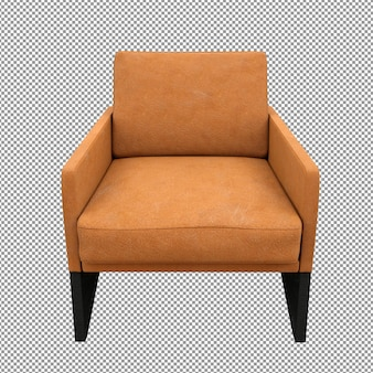 Крупным планом оранжевый диван рендеринг изолированные