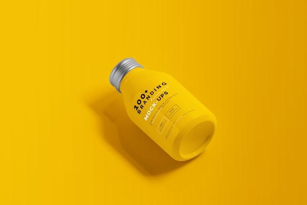 Close up on packaging of aluminum beverage bottle mockup
