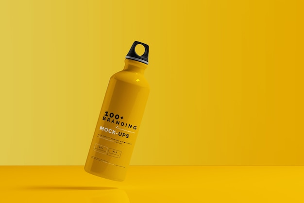Close up on packaging of aluminum water bottle mockup