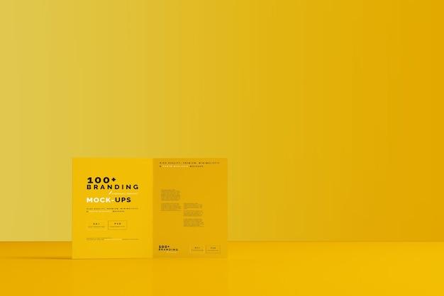 Close up on packaging of bi fold brochure mockup