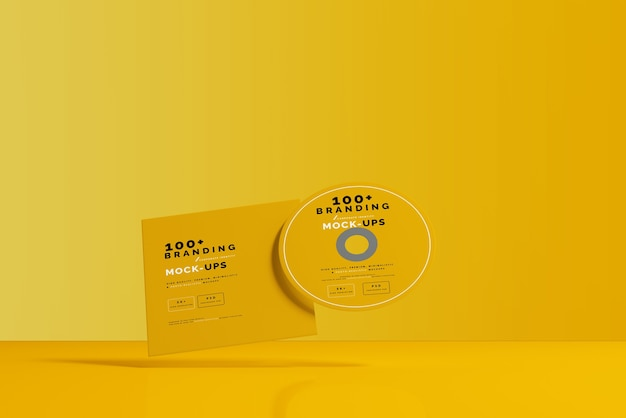 Close up on packaging of cd disk and sleeve mockup