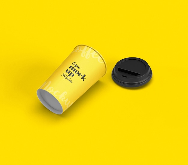 Close up on packaging of coffee cup mockup Premium Psd