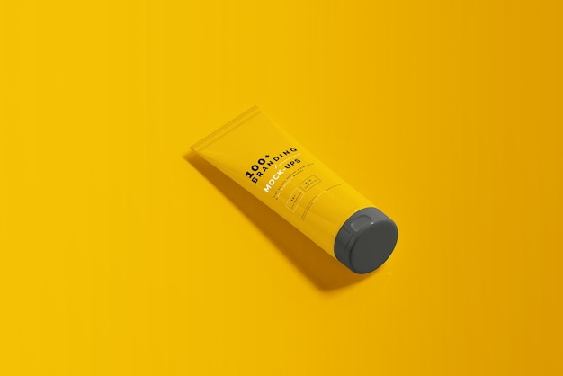 Close up on packaging of cosmetic tube mockup