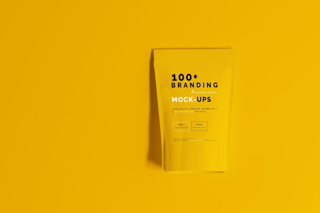 Close up on packaging of doypack standup pouch mockup