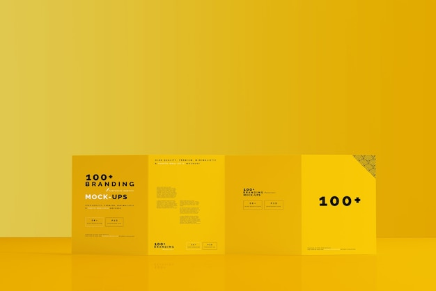 Close up on packaging of four fold brochure mockup
