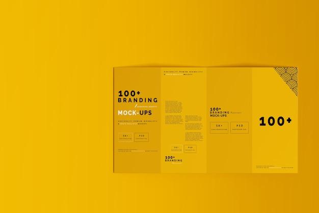 Close up on packaging of four fold dl brochure mockups