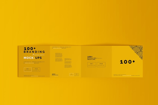 Close up on packaging of four fold square brochure mockup