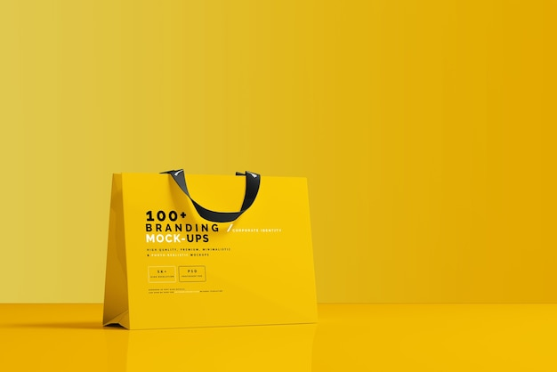 Close up on packaging of shopping bag mockup