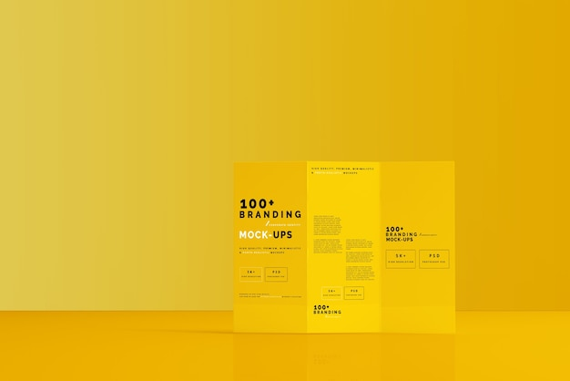 Close up on packaging of three fold dl brochure mockup