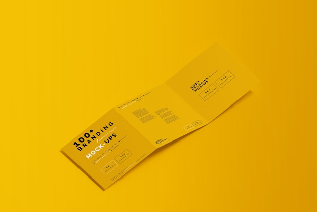 Close up on packaging of tri fold square brochure mockup