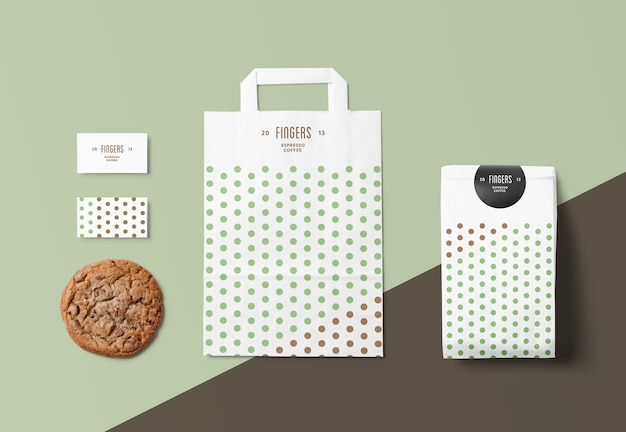Close up on paper bag mockup isolated