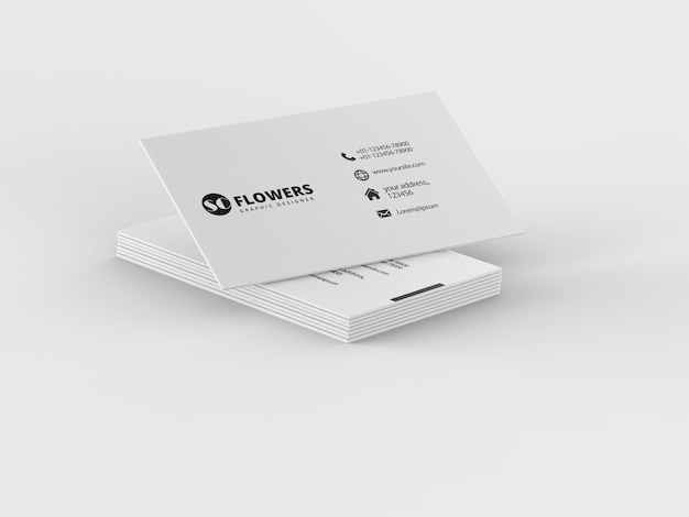 Close up on paper business card mockup