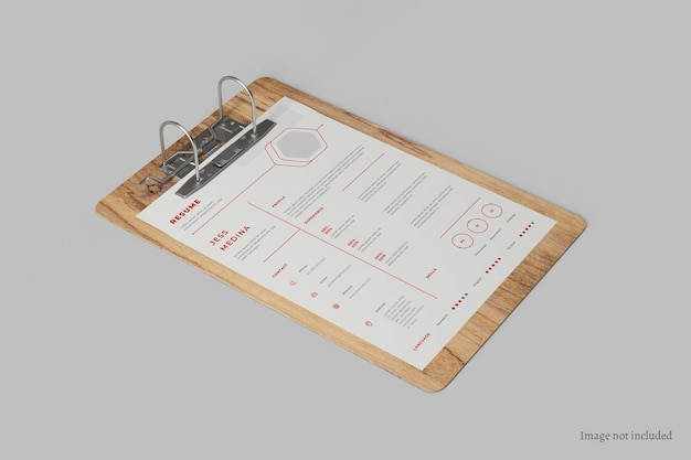 Close up on paper clipboard mockup perspective view