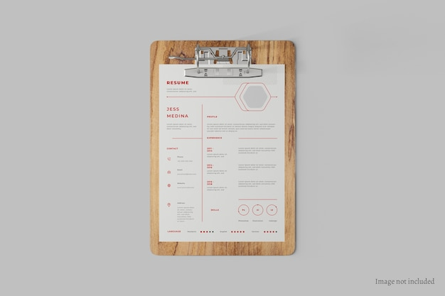 Close up on paper clipboard mockup top view