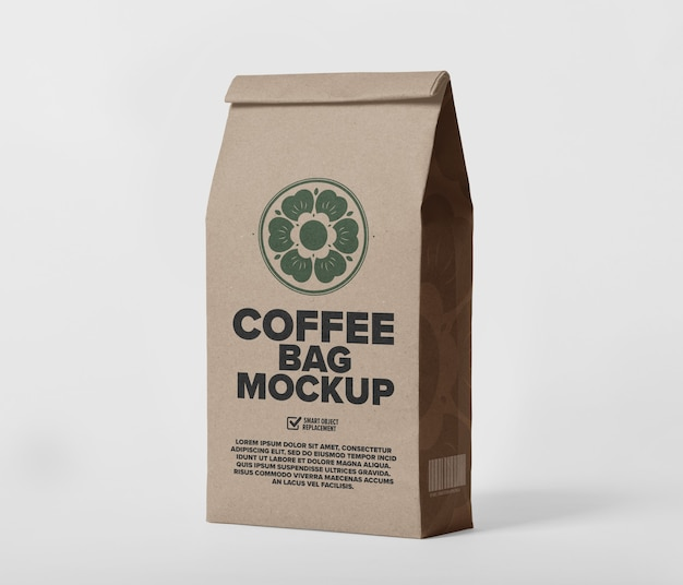 Close up on paper coffee bag mockup