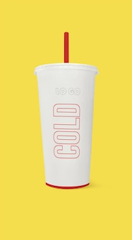 Close up on paper cup mockup isolated