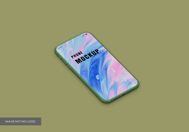 Close up on phone screen mockup isolated