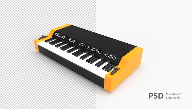 Close up on piano isolated
