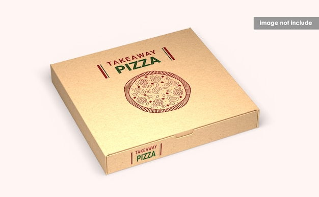Close up on pizza box mockup isolated