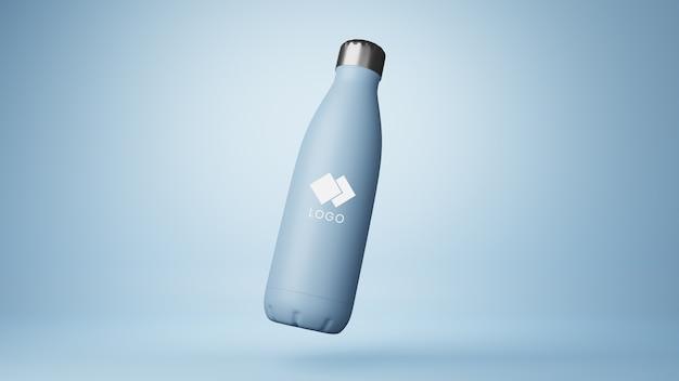 Close up on plastic corporative bottle mockup