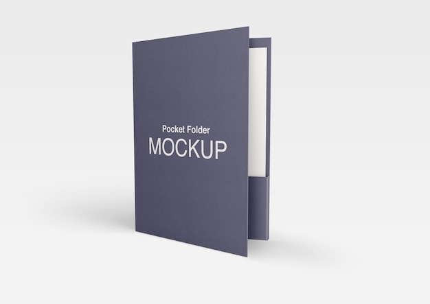 Close up on pocket folder mockup isolated