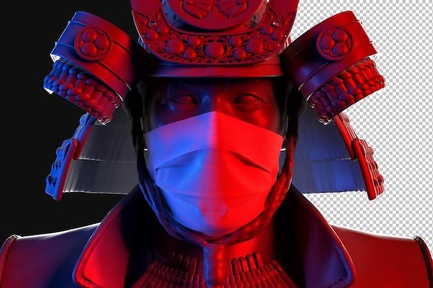의료 보호 마스크를 쓰고 사무라이의 클로즈업 초상화