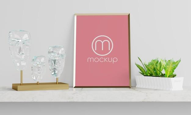 Close up on poster mockup design frame picture logo