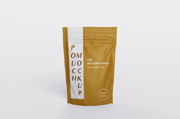 Close up on pouch packaging mockup isolated