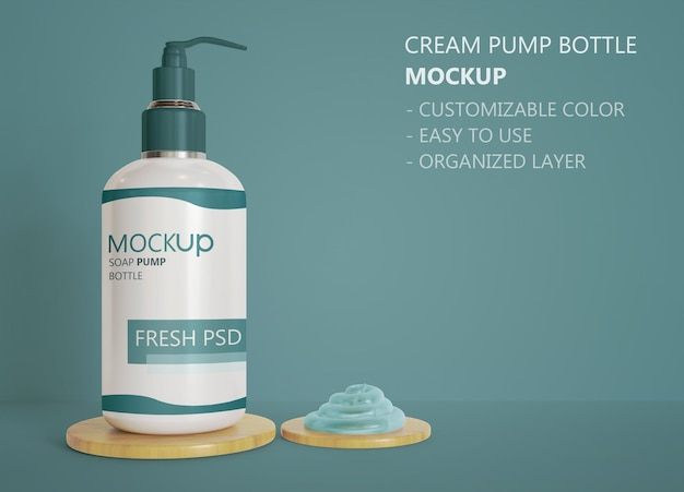 Close up on pump bottle mockup with soap cream