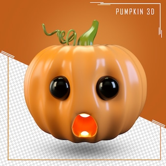 Close up on pumpkin 3d rendering isolated
