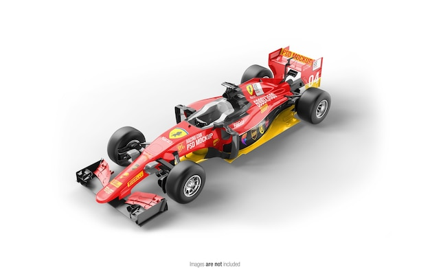 Close up on racing f1 car mockup isolated