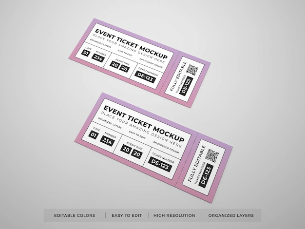 Close up on realistic event ticket mockup
