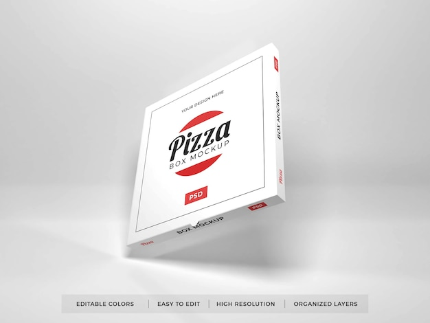 Close up on realistic pizza box mockup