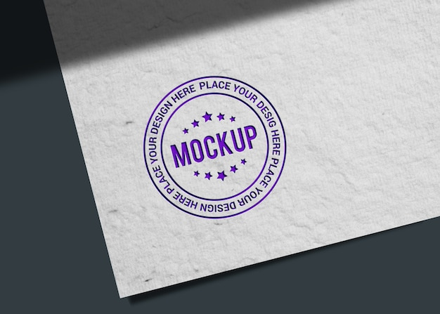 Close up on realistic stamp style logo mockup