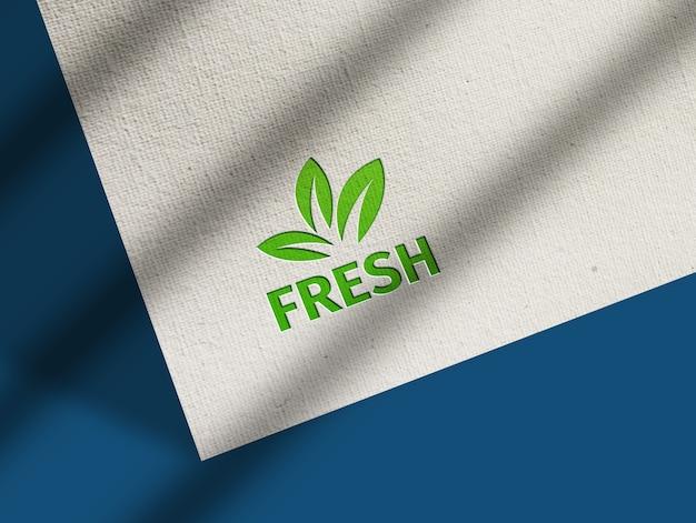 Close up on realistic style logo mockup