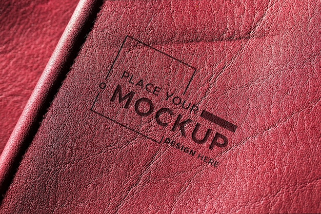 Close-up of red leather material