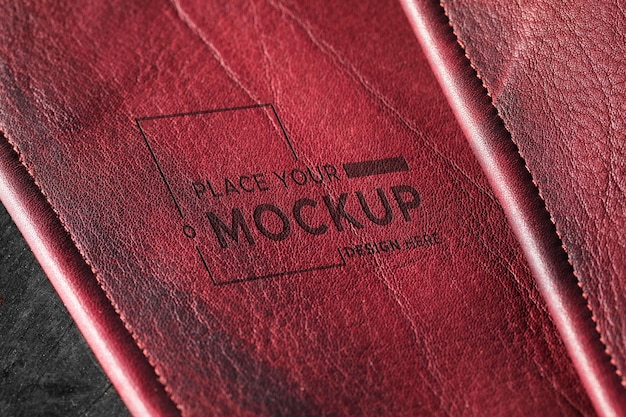 Close-up of red leather