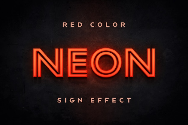 Close up on red neon sign text effect template