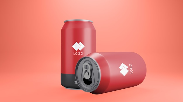 Close up on red soda can mockup