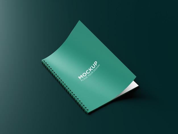 Close up on ringed notebook mockup isolated