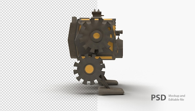Close up on robot machine isolated
