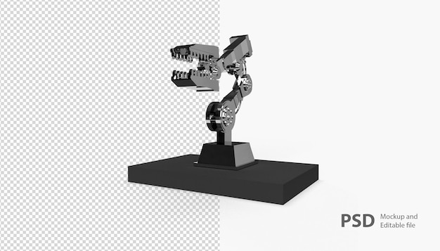 Close up on robotic machine isolated