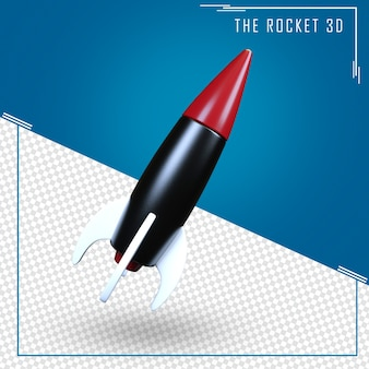 Close up on rocket 3d rendering isolated