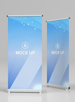 Close up on roll up banner mockup